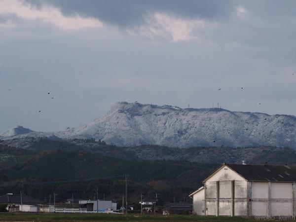 初雪と朝日。