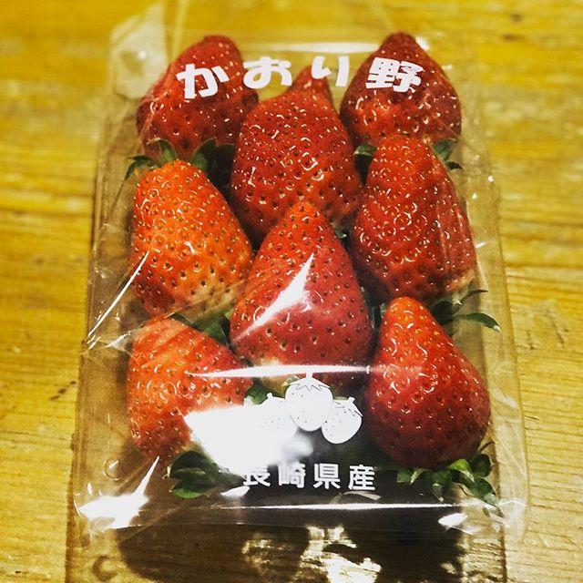 今年はじめてのイチゴさん( ´艸`)。甘い香りがたまらん! (あまおうは高くて買えませんwこれの2倍のお値段…)
