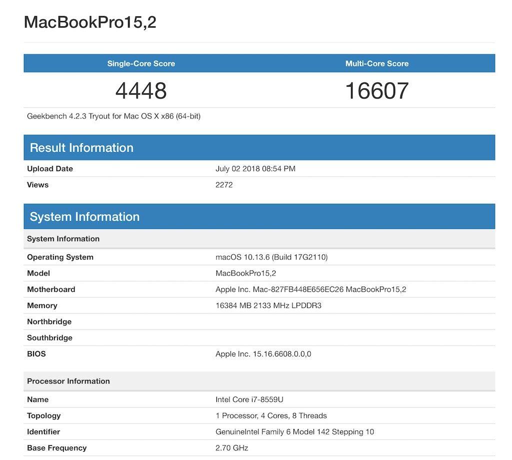 そろそろ、2018年モデルのMacBook Proがくる? Geekbenchの集計サイトに新型と思われるスコアが掲載。