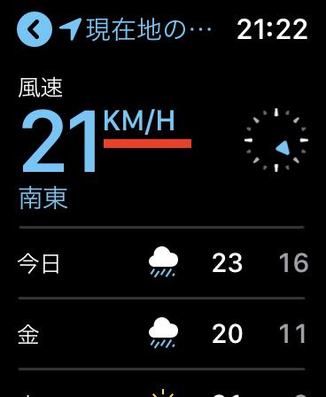 Apple Watch の「天気」Appの 風速単位について。(watchOS 5)恐らくバグ。
