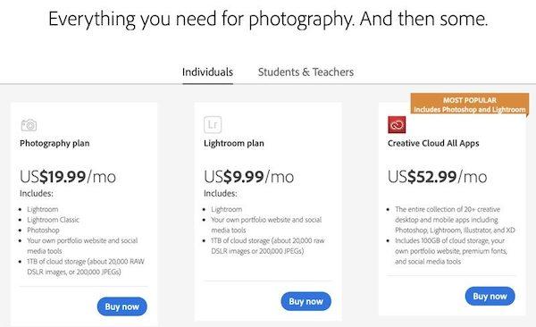 Adobe、米国のフォトプラン(Photoshop + Lightroom)を値上げ。日本では?
