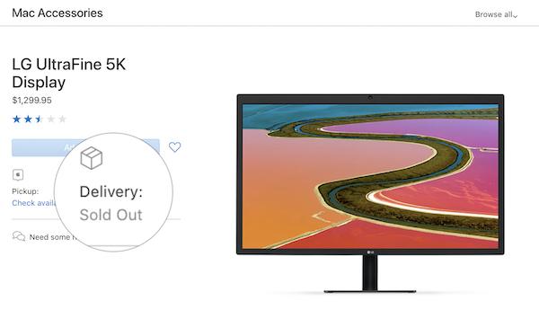 米国Apple Online Store 「LG UltraFine 5K Display」が売り切れ。4Kに引き続き売り切れって言うことは・・・噂の6K Displayが来るか(*`・ω・)ゞ。 日本ではまだ発売中です。