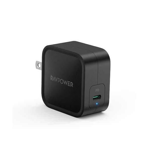 「RAVPower 61W USB-C PD充電器 PD3.0対応 RP-PC112」購入。小さくて最大61Wで充電出来る優れモノです(*`・ω・)ゞ。
