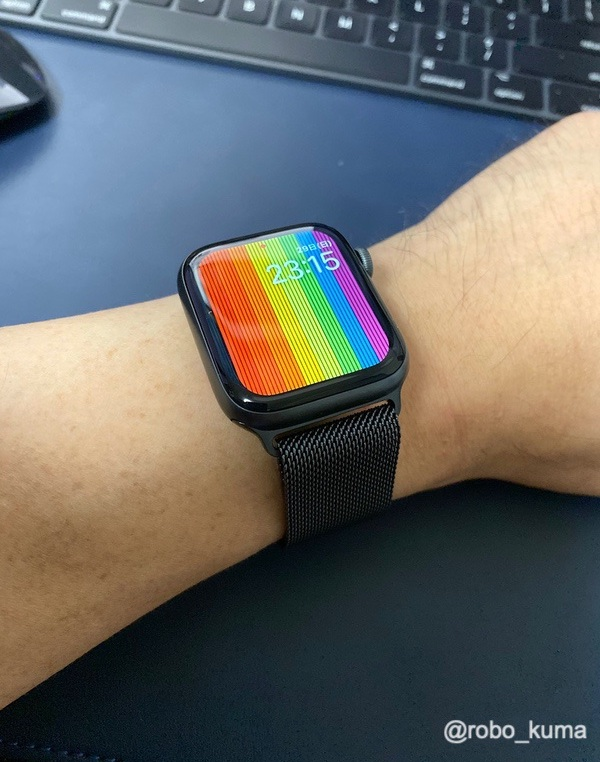 まるでチェーンメイルを装着です(*`・ω・)ゞ。Apple Watch バンド『44㎜ケース用 スペースブラックミラネーゼループ』購入。レビュー。