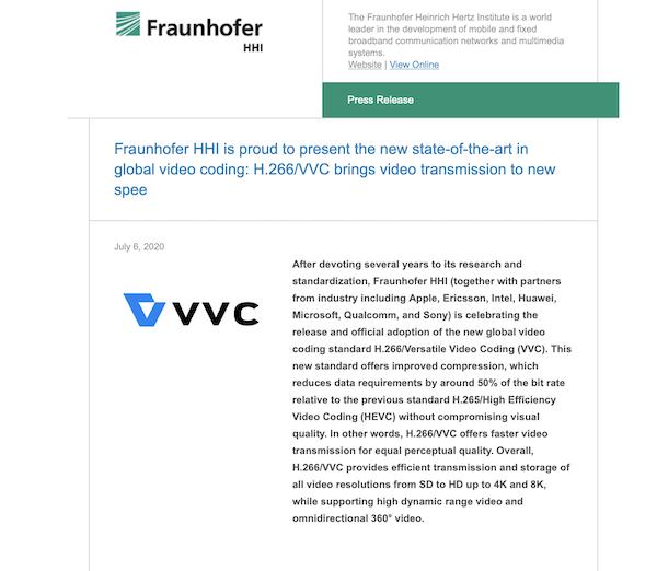Fraunhofer HHI、次世代ビデオ圧縮規格「H.266/Versatile Video Coding (VVC)」を発表。「H.265/HEVC」と比較して約50%ファイルサイズを削減。
