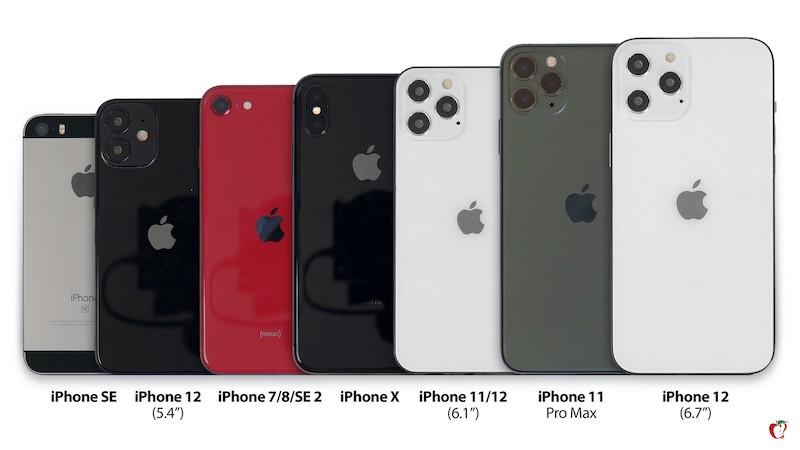 MacRumors、iPhone 12シリーズと言われるダミーとiPhone SE、7,8,SE 2,X、11,11 Pro,11 Pro Maxのサイズを比較。