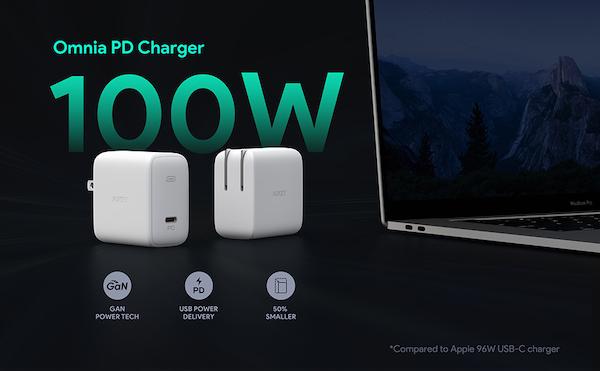 AUKEY 小型でPD3.0対応、GaN素材を採用し最大出力100Wの「AUKEY Omniaシリーズ オム二ア USBーC急速充電器 PA-B5」販売開始。