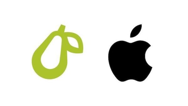 Appleが洋梨ロゴマークが酷似していると訴えた件は洋梨ロゴの「葉の形」を変更して解決。
