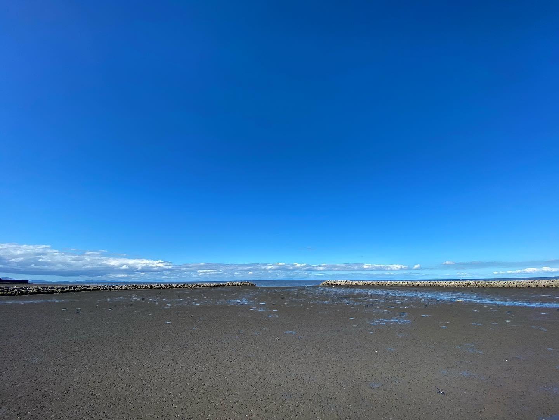 干潟と青空。(iPhone 11 Pro Max 超広角)