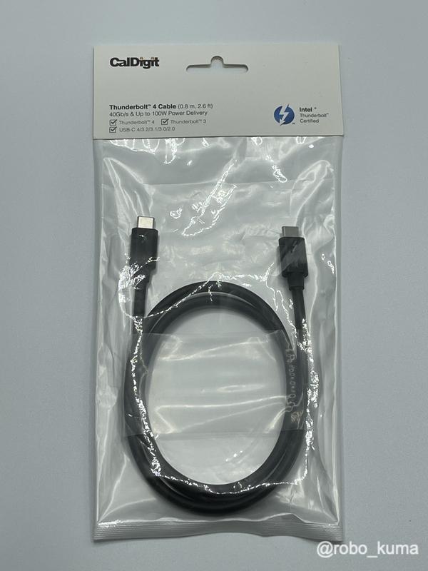 CalDigit「Thunderbolt 4ケーブル 0.8m」 購入。外観レビュー。