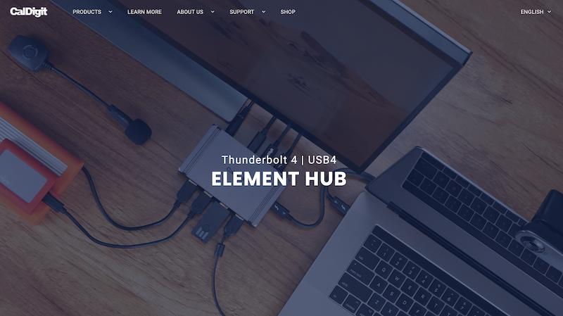CalDigit 「Thunderbolt 4 / USB4 Element Hub」 を発表。米国で2月発売。日本でも3月に購入可能。
