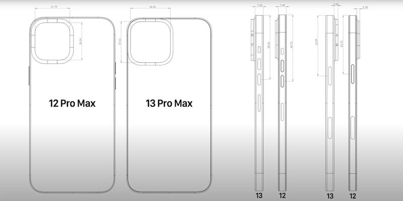 iPhone 13 シリーズのCADデータがリーク? カメラ周りの寸法が大きくなる。噂。