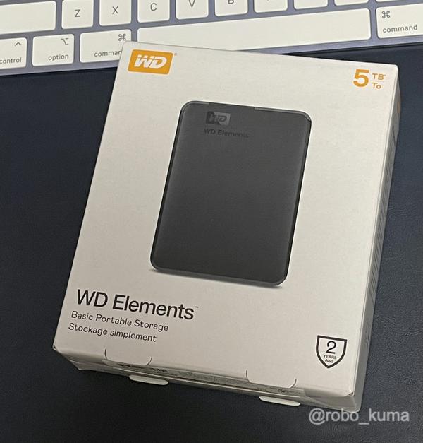24インチiMacのTime Machine用に「WD ポータブルHDD 5TB USB3.0 ブラック WD Elements Portable 外付けハードディスク」購入。