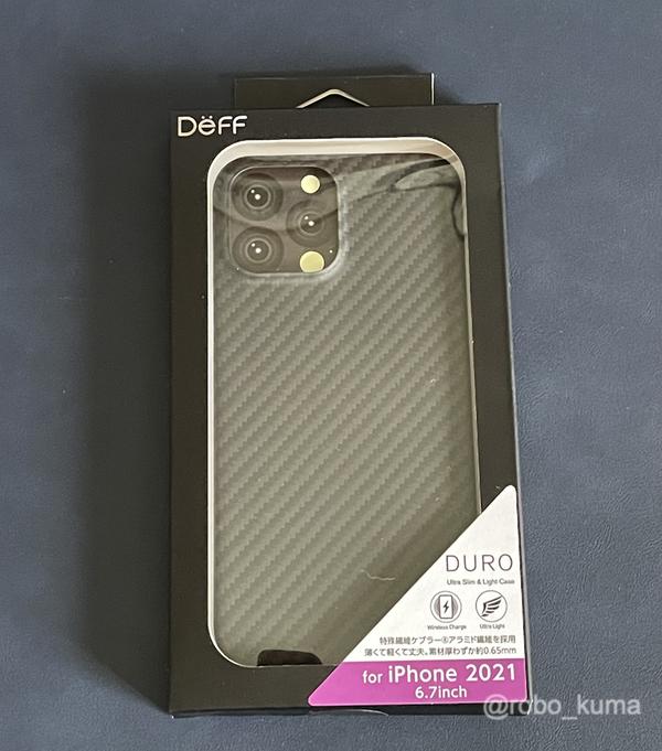 一足早く iPhone 13 Pro Max のケースを購入。アラミド繊維の厚さ約0.7mmで軽くて丈夫で薄いケース、Deff「Ultra Slim & Lite Case DURO for iPhone 13 Pro Max」。iPhone 12 Pro Maxに装着してみた。